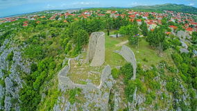 drnis-gradina-fortress-aerial-circular-shot-copter-view-old-ruins-edge-cliff-above-canyon-cikola-45772214